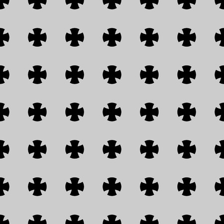 Black cross symbol pattern on grey background vector.