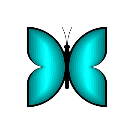 Blue butterfly on white background vector.