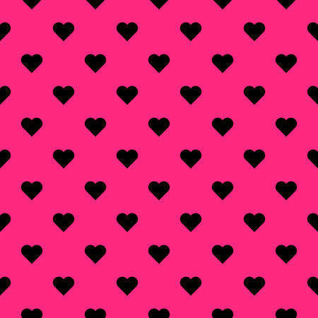 Black hearts symbol pattern on pink background vector.