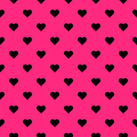 Black hearts symbol pattern on pink background vector. Illustration