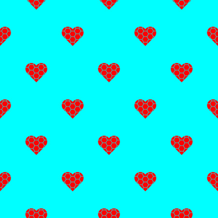 Red hearts symbol pattern on blue background vector.