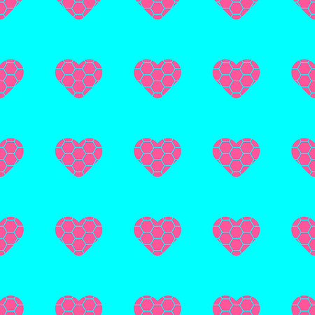 Pink hearts symbol pattern on blue background vector.