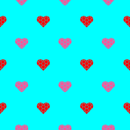 Pink and red hearts symbol pattern on blue background vector. Illustration
