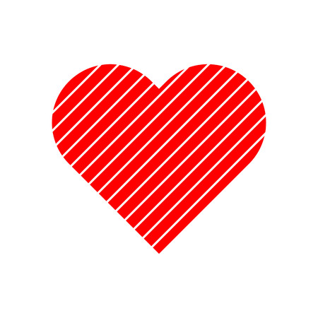 Lines pattern in red heart symbol vector.