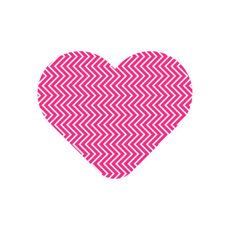 Zigzag pattern in pink heart symbol vector.