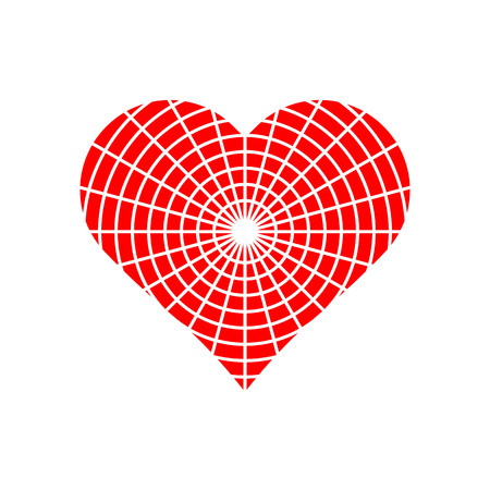 Circle pattern in red heart symbol vector.