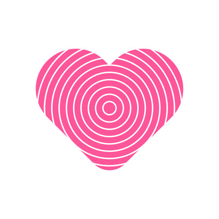 Circle pattern in pink heart symbol vector.