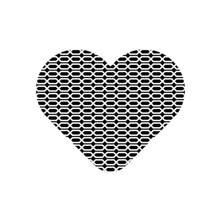 Grid pattern in black heart symbol vector.