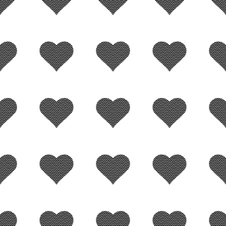 Black hearts symbol pattern on white background vector.