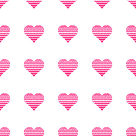 Pink hearts symbol pattern on white background vector. Illustration