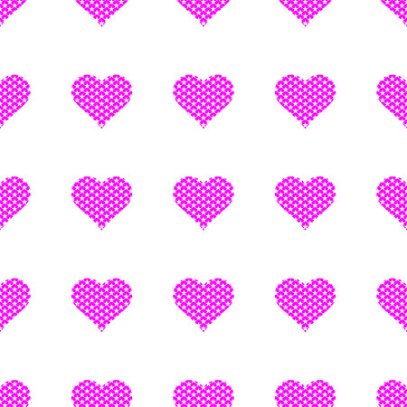 Purple hearts symbol pattern on white background vector. Stock Illustratie