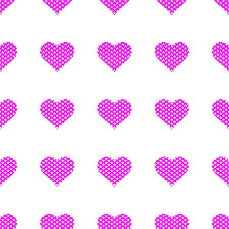 Purple hearts symbol pattern on white background vector. Illustration