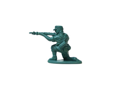 Close up of plastic soldier toy isolated on white background. Stock Photo