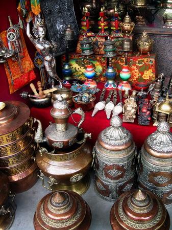 Tibetan Handicrafts Street Vendor Stall Kathmandu
