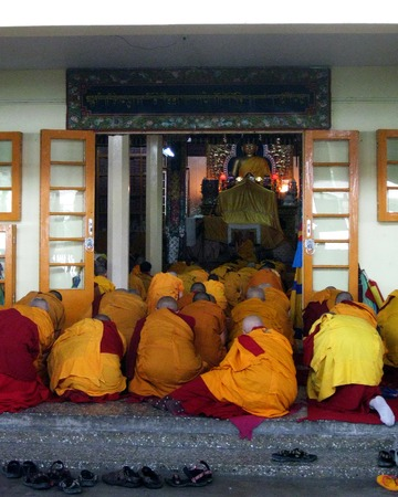 Tibetan Buddhist Nuns Religious Ceremony Editorial