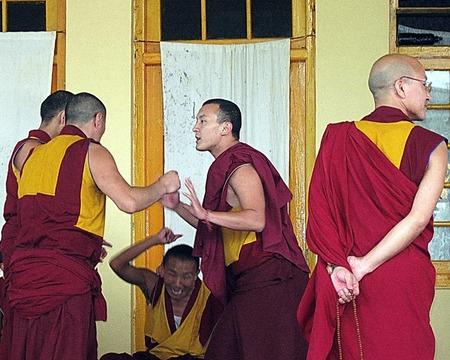 gelugpa: Tibetan Buddhist Gelugpa Monk Debate Dharamsala India