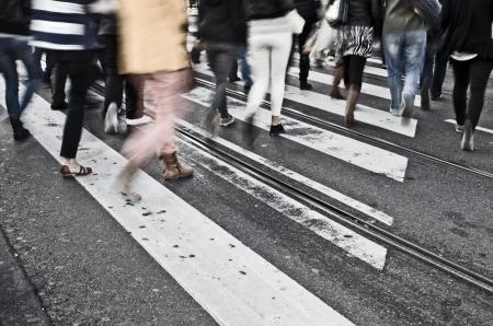 busy street: Pedestrians Editorial