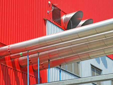 Industrial pipes on the outside of a power plant factory Stock Photo - 18242694