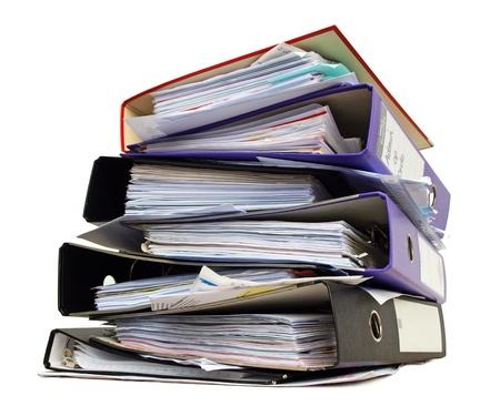 order chaos: Stack of file folders Stock Photo