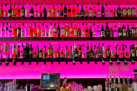 wine register: Bar with pink background