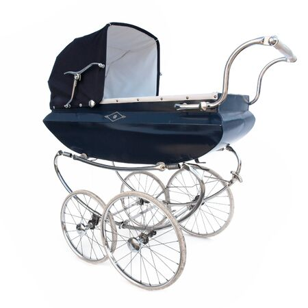 blue baby carriage isolated on white background Stock Photo - 18319881
