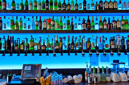 Bar with blue backlight Stock Photo - 18332071