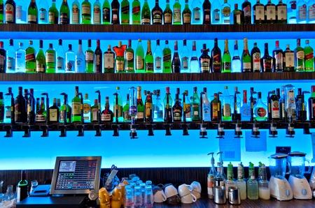 wine register: Bar with blue backlight
