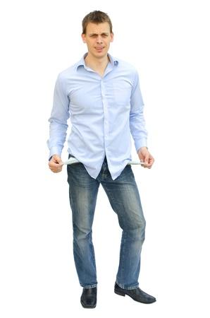 empty pockets: Broke man with empty pockets isolated