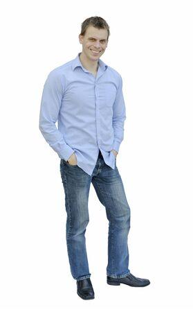 Middle aged man smiling isolated on white background photo