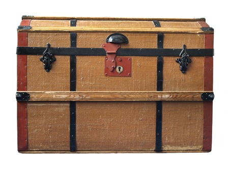 locks: An old brown trunk with wooden frame and black locks