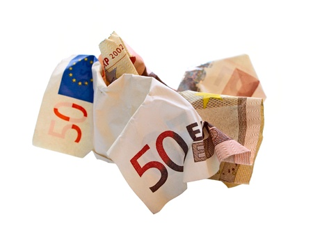deficits: isolated 50 euro wrinkled bill   Stock Photo