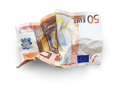 worthless: isolated 50 euro wrinkled bill Stock Photo