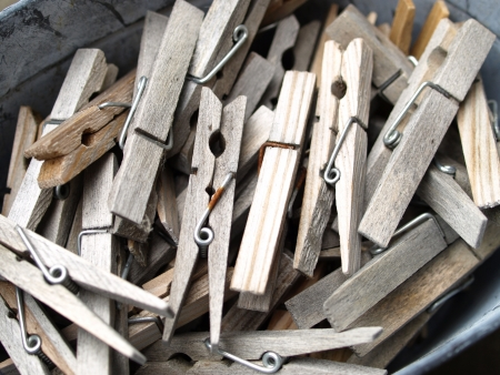 dry cleaned: Group of old cloth pins or clothes peg