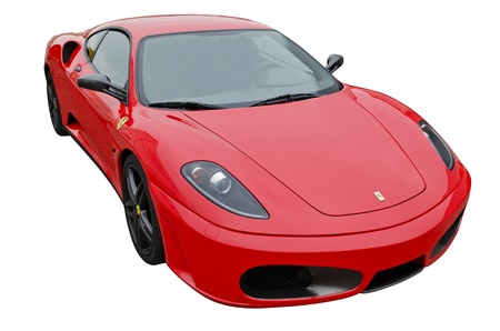exotic car: A red Ferrari F430 isolated in a white background
