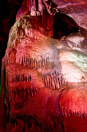 Dark cave with stalactites and stalagmite pipes in Remouchamps Stock Photo - 18393665