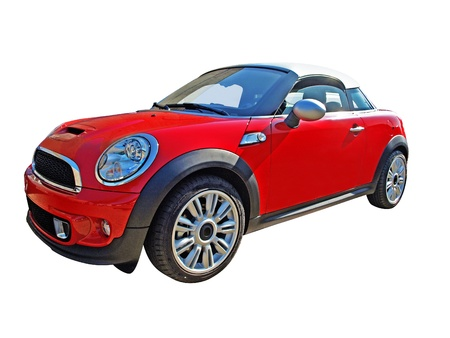 A mini cooper cabriolet car isolated on white