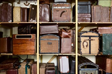 Old suitcases at trainstation