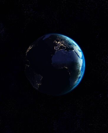 Planet earth seen from space showing a sun rise Stock Photo - 18649024