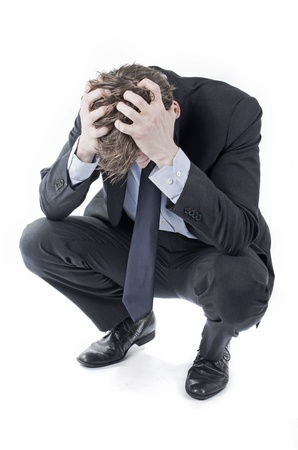 Desperate businessman crying Banque d'images