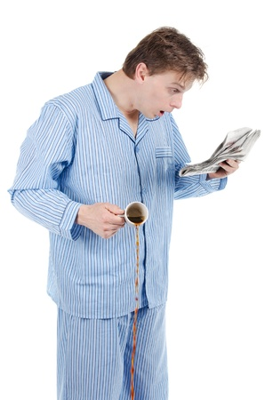 Man upset about what he reads in morning paper Stock Photo - 19000025