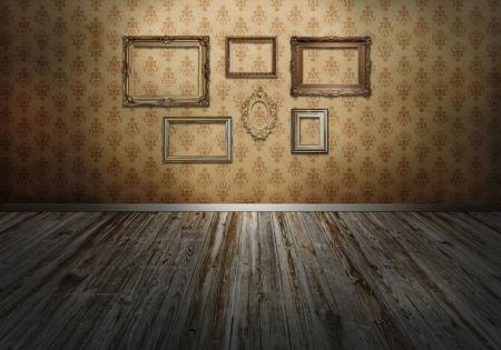 antique wallpaper: Wall with art frames