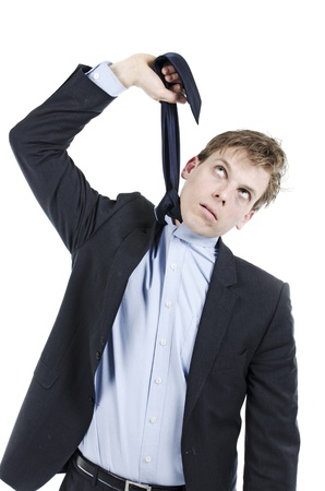 Desperate businessman hanging himself with his neck tie 版權商用圖片