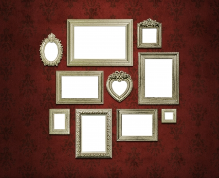 Empty family frames on art deco or vintage walls photo