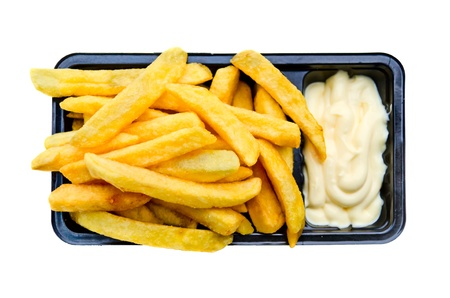 French fries in black tray with mayonnaise
