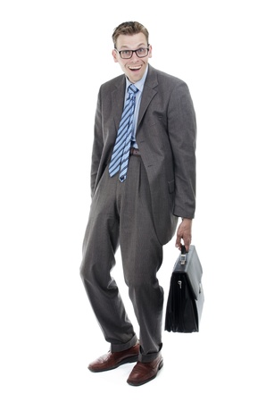 Nerd or goofy businessman with suitcase