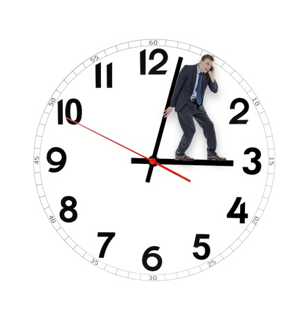 time pressure: Businessman saving time holding the clock