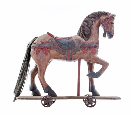 Old wooden play horse
