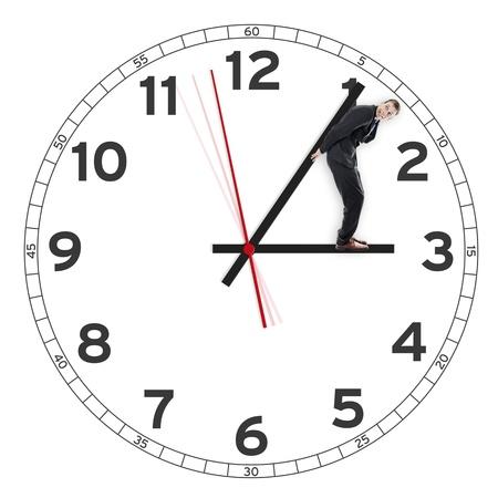 Date limite, l'homme tenant le temps ou horloge Banque d'images