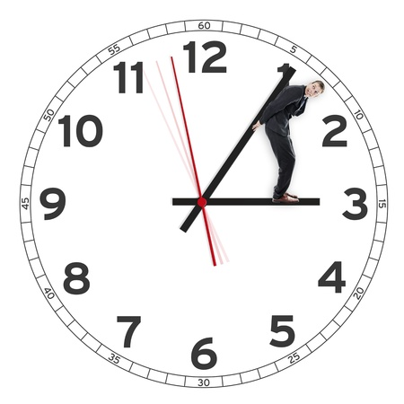 working hour: Deadline, man holding the time or clock