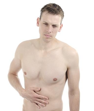 nackte brust: Weiß nacktem Oberkörper Mann mit Magenschmerzen Lizenzfreie Bilder